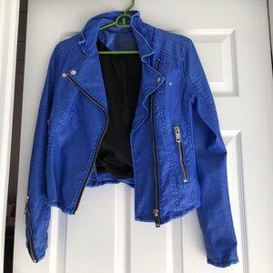 BLANKNYC bright blue leather jacket